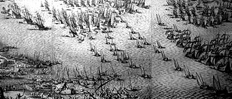 Lyon's Whelp - England invades the Isle de Re in 1627. A few pinnaces may be glimpsed among the 800-ship English fleet.