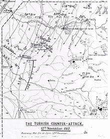 Map shows the positions of the Australian Mounted Division before, during and at the end of 12 November. Also identified are the Ottoman divisions involved and the direction of their attack.