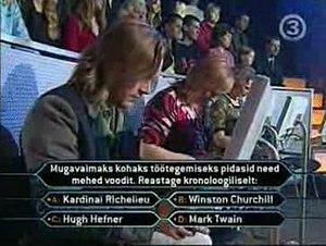 Kes tahab saada miljonäriks? - Fragment of the show; Fastest Finger First in progress