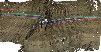 Digital outcrop model - Image: Geological Interpretation DOM