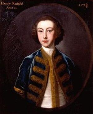 Robert Knight, 1st Earl of Catherlough - Hon. Henry Knight (1728–1762). Titled Henry Knight Aetat (15?), 1743/4(?). English School