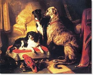 Staffordshire dog figurine - Dash (left) with Lory (parrot), Nero (greyhound) and Hector (Scottish deerhound), by Edwin Henry Landseer, 1838
