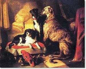 Dash (spaniel) - Dash (left) with Lory (parrot), Nero (greyhound) and Hector (Scottish deerhound) by Edwin Henry Landseer, 1838