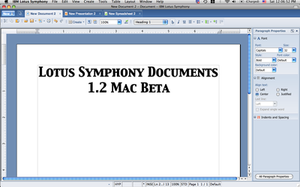 IBM Lotus Symphony - Lotus Symphony Documents 1.2 Beta on Mac OS X