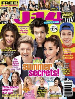 J-14 (magazine) - The July 2014 issue of J-14. From left to right: Selena Gomez, Niall Horan, Harry Styles, Ariana Grande, and Austin Mahone.