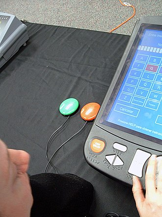 DRE voting machine - A Hart eSlate DRE voting machine with jelly buttons for people with manual dexterity disabilities.