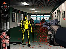 Horizontal rectangle video game screenshot that is a digital representation of a hallway. The character's extended right hand points a gun at a number of yellow mutated humanoids.