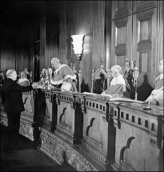 Oath of Citizenship (Canada) - Prime Minister William Lyon Mackenzie King becomes the first person to take the Oath of Citizenship, from Chief Justice Thibaudeau Rinfret, in the Supreme Court, 3 January 1947