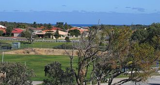 Kinross, Western Australia - View over Kinross Primary School with the Indian Ocean in the distance