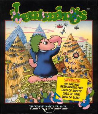 Lemmings (video game) - Cover art by Adrian Powell