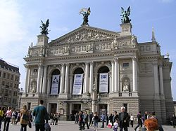 The Lviv Opera and Ballet Theater, an important cultural center for residents and visitors.