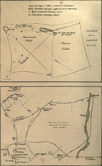 Ashford v Thornton - Maps of the place where the body was found, and surrounding areas. The location of the fatal pit is now 152 Penns Lane, Sutton Coldfield.