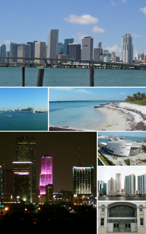 A collage of images of Miami.