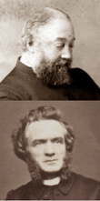 left: head and shoulders shot of balding, portly white man with a bushy bears; right: side-whiskered but otherwise clean shaven younger white man with dark hair