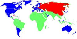 Blue: First World, Red: Second World, Green: Third World.