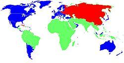 Blue: First World, Red: Second World, Green: Third World.