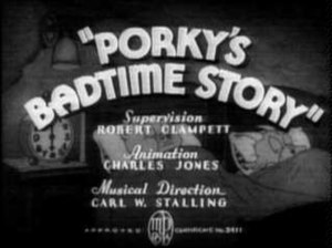 Porky's Badtime Story - Title card while Porky and Gabby are still sleeping