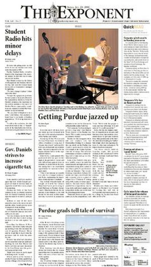 Purdue Exponent - The Exponent front page, January 20, 2006