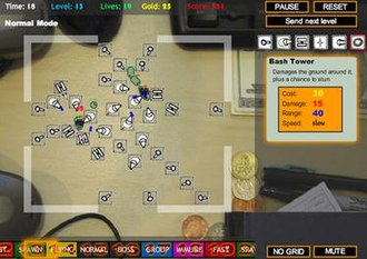 Tower defense - Desktop Tower Defense (running on PC) was one of a wave of popular Flash-based tower defense games released in the late 2000s
