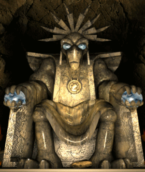Creatures (video game series) - The statue of a Shee in Creatures 2. This is one of very few official in-game appearances of the Shee. (There are more hidden deeper in.)