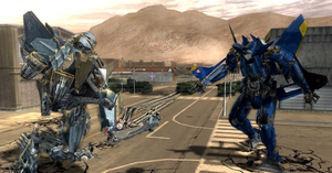 Transformers: The Game - Starscream confronts an Autobot drone.