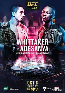 UFC 243 UFC mixed martial arts event in 2019
