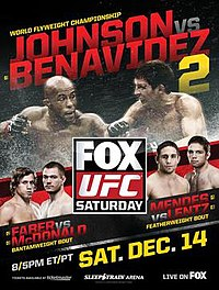 A poster or logo for UFC on Fox: Johnson vs. Benavidez 2.