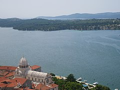 View of Sibenik Cathedral and sea from St. Michael's Fortress