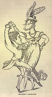 A short, elegantly dressed man dances with a much taller woman with a pig's head