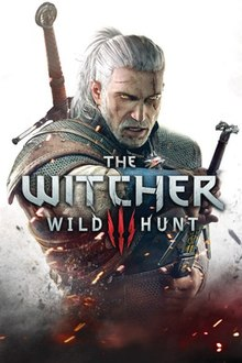 Game cover art, with Geralt pulling out a weapon