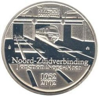 North–South connection - Image: 2002 Belgium 10 euro Noord Zuid verbinding front