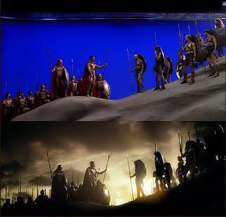 300 (film) - Above: A scene during filming. Below: The finished scene.