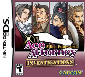 Ace Attorney Investigations: Miles Edgeworth - Cover art featuring (from left to right) Edgeworth, Gumshoe, Kay, and Lang