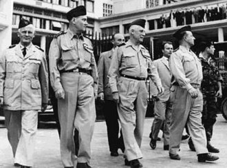 Algiers putsch of 1961 - From left to right: French Generals André Zeller, Edmond Jouhaud, Raoul Salan and Maurice Challe during the coup (Gouvernement General building, Algiers, April 23, 1961).
