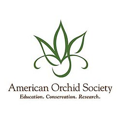 "Logo of the American Orchid Society a line drawing of an orchid with the name of the society and below the words, ""Education. Conservation. Research."""