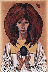 A painting of a slim white woman with large red hair. The two eyes are blackened. She is wearing a white outfit and in her hands holds a black egg.