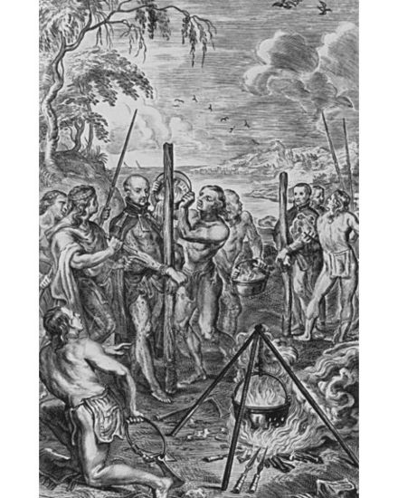"Jean de Brébeuf and Gabriel Lallemant stand ready for boiling water/fire ""Baptism"" and flaying by the Iroquois in 1649."