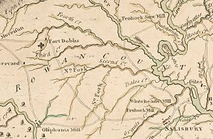 A 1770 map depicting the location of Fort Dobbs in North Carolina.
