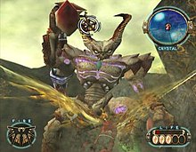 A man with wings, at bottom, soars through a canyon inhabited by a large horned demon. An aiming reticle on the demon's head shows where the man will shoot.