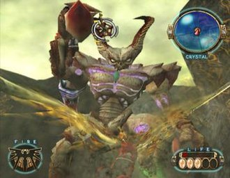 Capcom Five - A winged man fights a large demon in one of the few screenshots of Dead Phoenix.