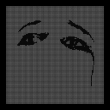 Across a black background is a display of 12,995 white dots. Patterned into this sheet of white dots are a pair of eyes and eyebrows above them; the right eye appears to have a tear falling from it.
