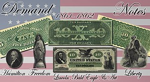 "Demand Note - Top row: The distinctive green ink used on the backs of Demand Notes gave rise to the term ""greenbacks""  Bottom row: Prominent design elements used on the front of $5 and $20 Demand Notes (located respectively under their denomination); pictured in the middle is the front of a $10 Demand Note with prominent design elements listed"