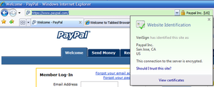 Internet Explorer 7 - Sites presenting EV Certificates are trusted