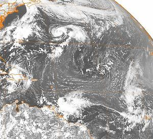 1981 Atlantic hurricane season - Image of Emily, Floyd, Gert, and formative stage of Harvey from September 9, 1981.