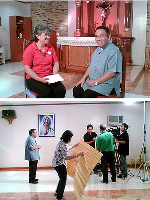 Family Rosary Crusade (TV program) - Rev. Fr. Erick Santos begins his first official taping for the Family Rosary Crusade taken at the makeshift studios at the Mother Teresa Chapel inside the Holy Child Parochial School in Tondo, Manila