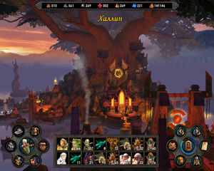 View of the Sylvan town. During the game the camera flies through the 3D environment