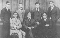 Iqbal with Choudhary Rahmat Ali and other Muslim activists.