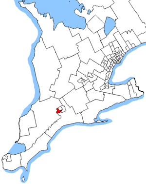 London West - Map showing the location of London West within Southwestern Ontario (2013 boundaries)
