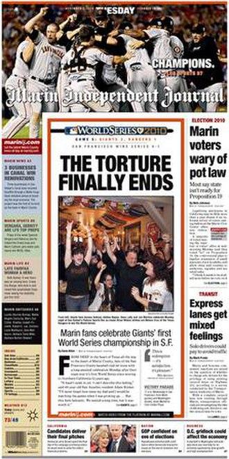 Marin Independent Journal - Image: Marin IJ Nov 2 Front