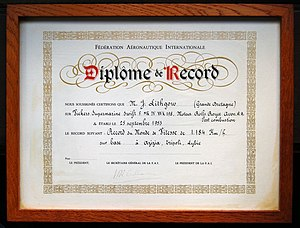 Mike Lithgow - World Air Speed Record diploma
